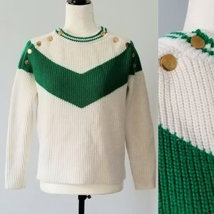 Vintage Cream and Green Cheveron Pattern Sweater